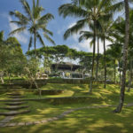 Lush Bali garden with steps leading up to the amphitheatre